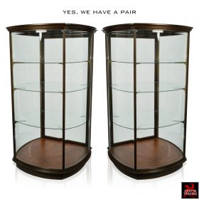 Pair of Curved Glass Display Case